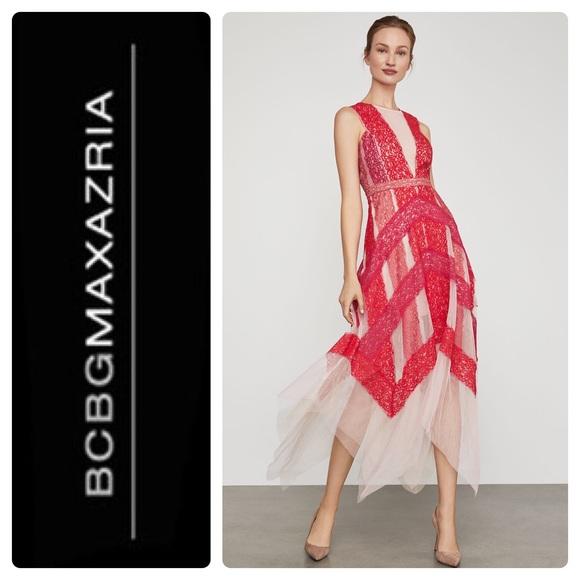 ddb324278e2 New BCBGMAXAZRIA Floral Lace Handkerchief Dress